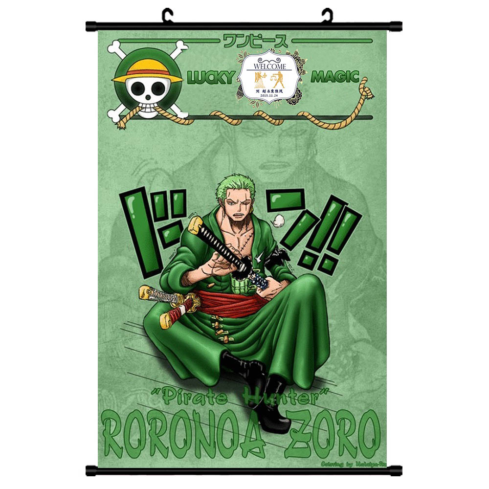 ZORO WANTED Poster Wall Picture Home Decor One Piece Luffy Scroll Painting BAGGY Canvas Paintings