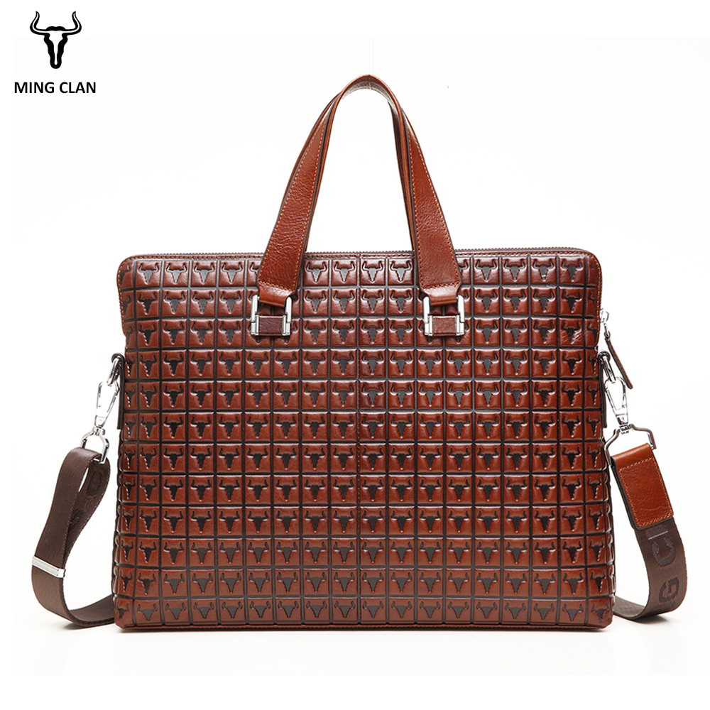 Mingclan Bag Men's Genuine Leather Bag Briefcases Male Business Computer Laptop Bags Print Crossbody Suitcase Office Work Bag