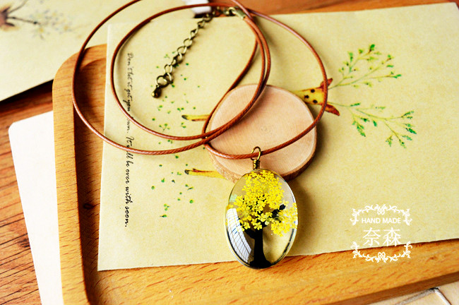 HTB1pD.WQXXXXXb6aXXXq6xXFXXXa - Handmade Natural Dry Flowers Life Tree Long Necklaces & Pendants
