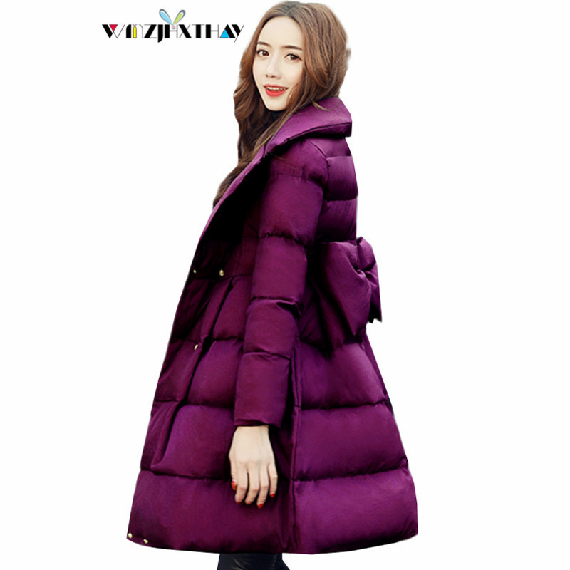 Femelle Mince Mode Mf031 Chaud Couleur De purple Femmes Hiver Vestes fuchsia Épaissir Élégant Parkas Survêtement Nouveau Black Coton Casual 2019 Solide Arc Manteau zZqOzxF