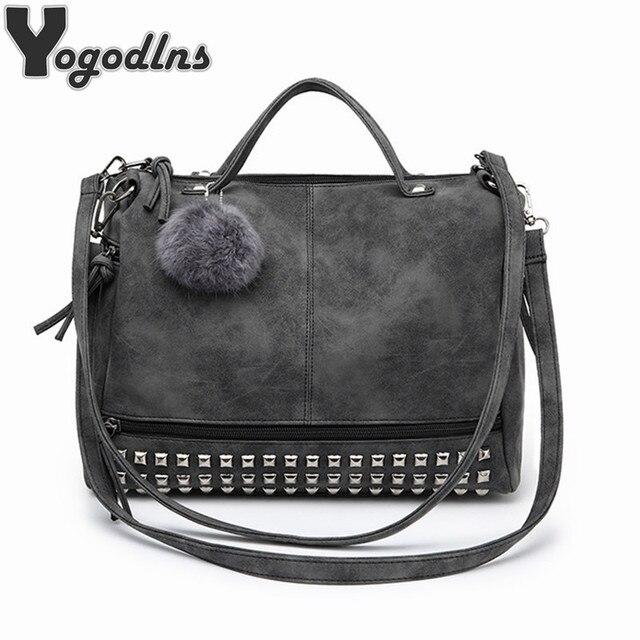 Hot Vintage Nubuck Leather Female Top-handle Bags Rivet Larger Women Bags Hair Ball Shoulder Bag Motorcycle Messenger Bag