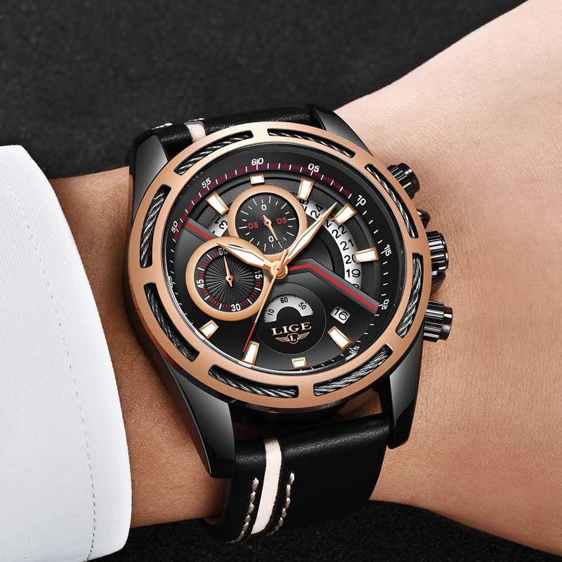 LIGE Watch Men Leather Strap Casual Military Watches Top Brand Luxury Chronograph Male Quartz Wristwatch Relogio Masculino+Box oulm mens designer watches luxury watch male quartz watch 3 small dials leather strap wristwatch relogio masculino