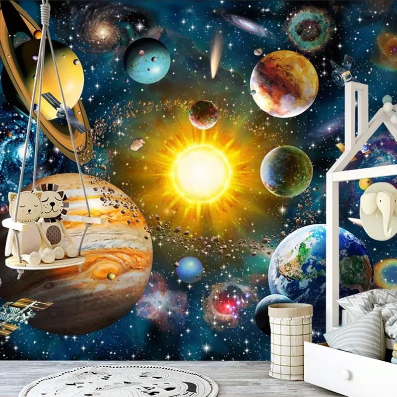Custom 3D Photo Wallpaper Kids Bedroom Modern Hand Painted Cartoon Universe Star Sky Planet Children Room Mural Background Wall