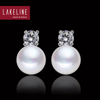 CZ Diamond And Pearl Earrings Princess Favorite Round Button White Natural Genuine Real Cultured Freshwater Pearls