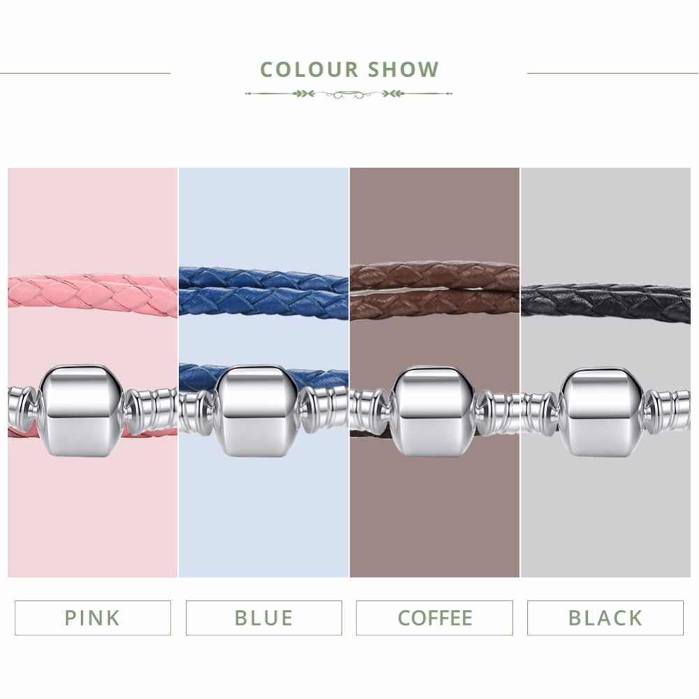 BAMOER Echtem Lange Doppel Rosa Schwarz Geflochtene Leder Kette Frauen Armbänder mit 925 Sterling Silber Schlange Verschluss PAS908