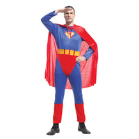 Adulti Superman Costumi Rosso Blu Lycra Spandex Full Body Superhero Zentai Super Eroe Cape Per Il Maschio Hallowee Cosplay Outfit