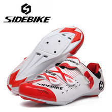SIDEBIKE Road Cycling Shoes Men's Athletic Bicycle Outdoor Sport Riding Bike Sneakers Black White Breathable Shoes Size 40-46