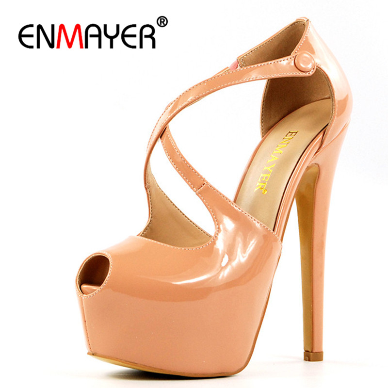 ENMAYER Woman Shoes 2017 Summer Chaussure Femme Gladiator Pumps Women Plus Size 35-46 Peep Toe Platform Shoes weweya 2017 summer candy colors ladies flats fashion pointed toe shoes woman new flat shoes women plus size chaussure femme