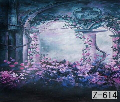 Décor de forêt mystérieuse, fond de photographie peint à la main de 10ft x 10ft