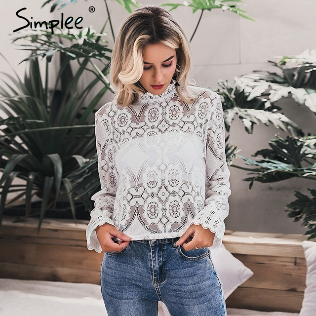 Simplee Elegant white lace blouse shirt Sexy hollow out embroidery feminine blouse Women long lantern sleeve summer tops female 3