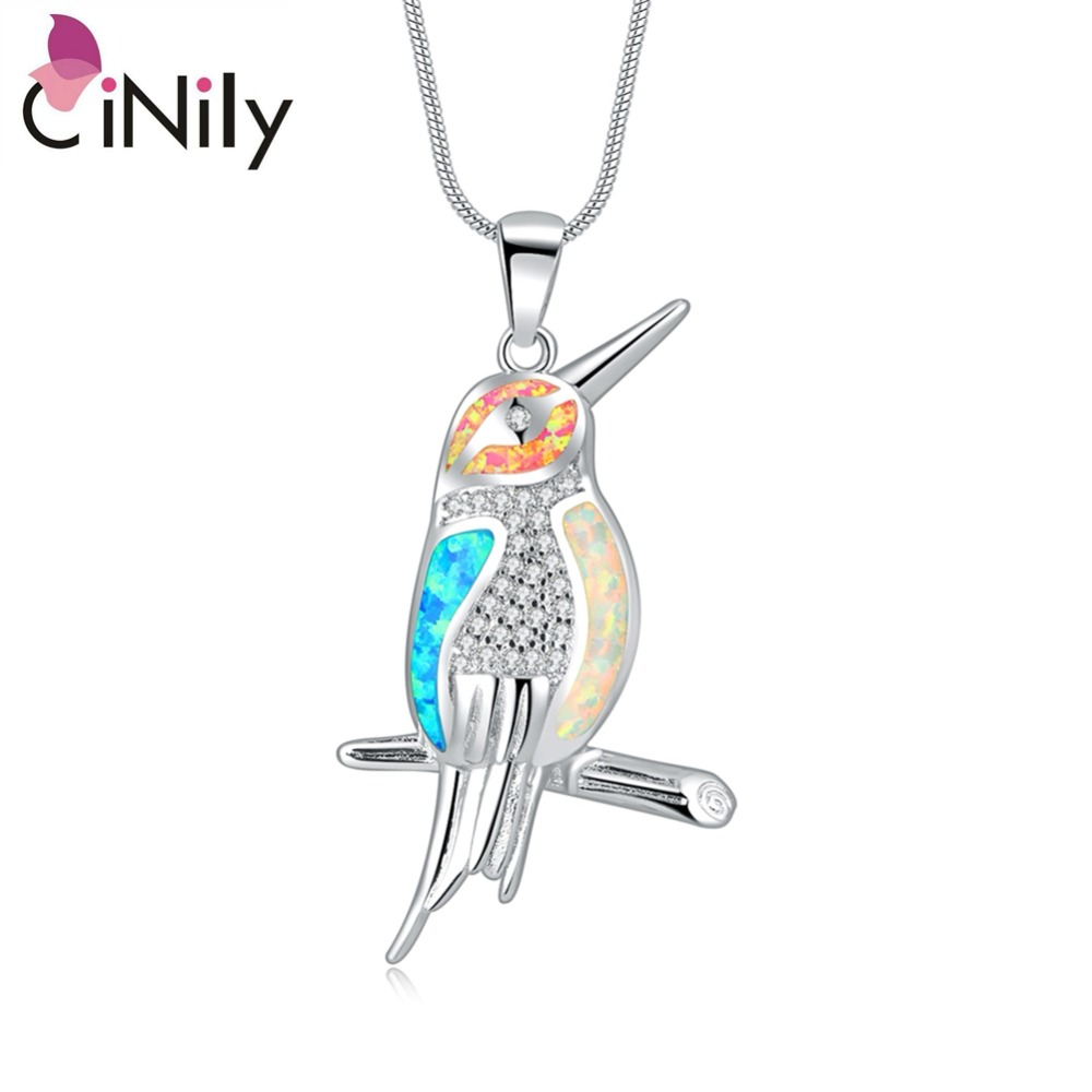 CiNily Dicipta Fire Opal Pendant White Pink Blue Charm Colorful Silver Plated Lovely Animal Cute Bird Woodpecker Jewelry Gift