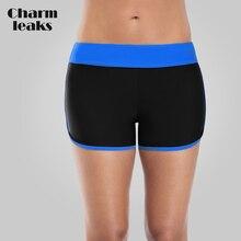 цена на Charmleaks Low Waist Swim Trunks Women Bikini Bottom Ban Colorblock Swimwear Briefs Swimwear Split Swimming Trunks