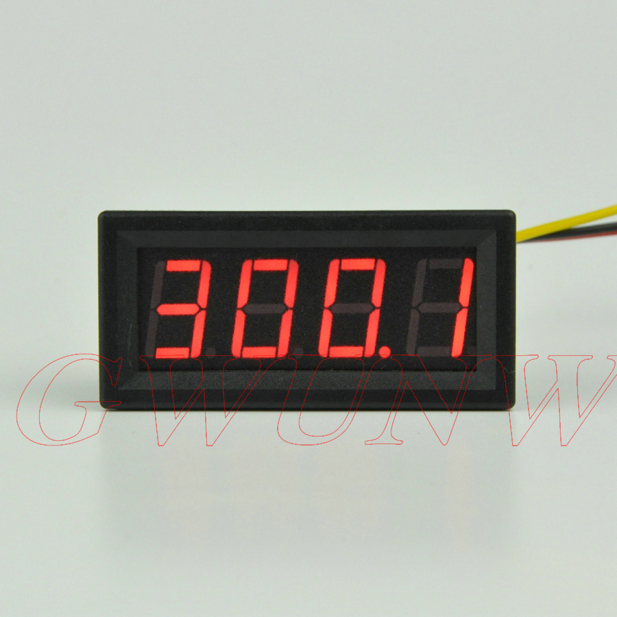 GWUNW BY456V  DC 0-300.0V (300V) 4 Bit  Digital Voltmeter  Panel Meter  Red Blue Green 0.56 Inch Voltage Tester Meter