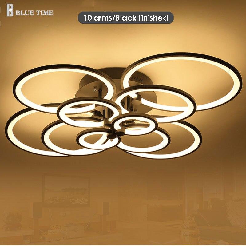 Blanc fini noir fini lustres LED cercle moderne lumières pour salon acrylique Lampara de techo Éclairage intérieur