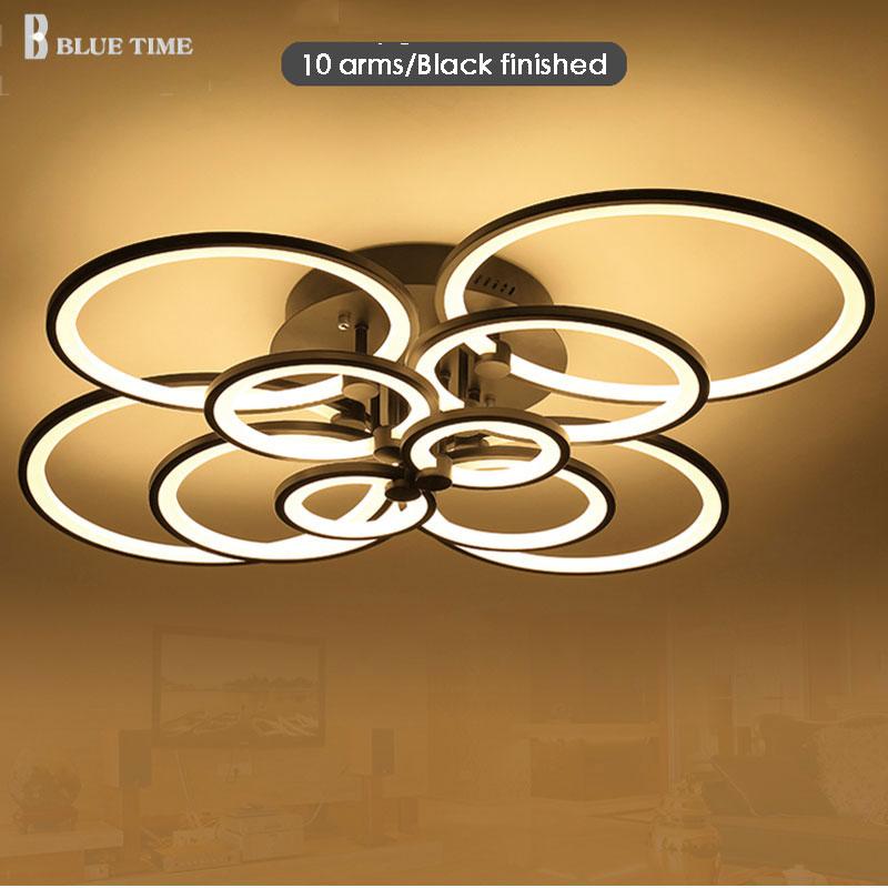 Blanco terminado acabado negro lámparas LED círculo luces modernas para la sala de acrílico lámpara de techo lámparas