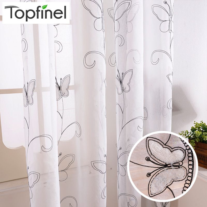 Topfinel Cotton Linen White Ready Made Cheap Embroidered Sheer Butterfly Curtains for Living Room Bedroom Children Kids Room