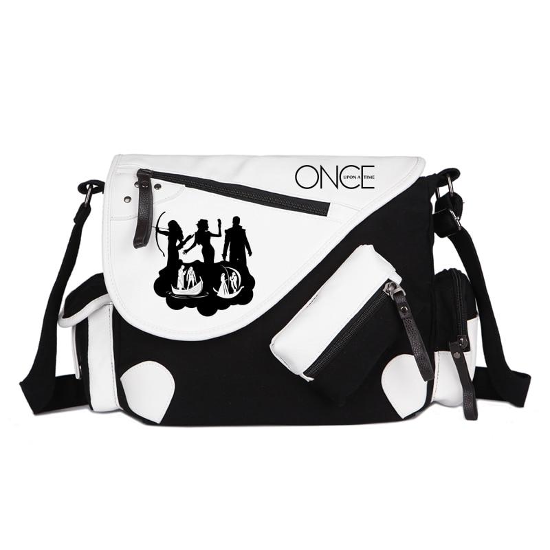 Once Upon A Time Canvas Casual Zipper Boys Girls Shoulder Bag Crossbody Bags Schoolbags Messenger Bag Gift casual canvas satchel men sling bag