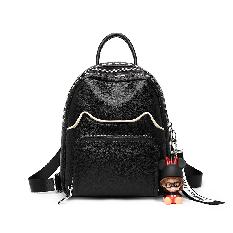 Korean version of the wave of simple fashion leather backpack Vertical section of the fashion and small magic backpack qiaobao 2018 new leather backpack cowhide shoulder bag fashion korean version of the wave backpack simple fashion bag