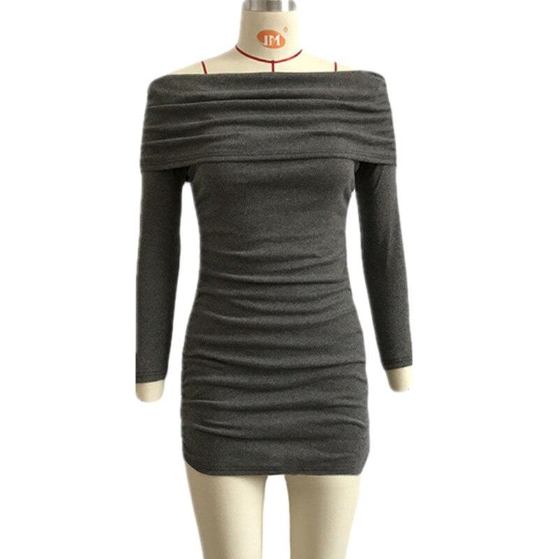 Autumn Winter Knitted Sweater Dress Solid Gray Color Women Sexy Slash Neck Long Sleeve Slim Hip Skinny Mini Dress Bottom Dress dabuwawa 2016 slim fashion gray jeans women autumn