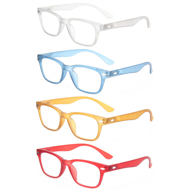 89f66677f49 Reading Glasses Set of 4 Men and Women Spring Hinge Plastic Readers Great  Value Quality Presbyopia Glasses Diopter 50 to 600