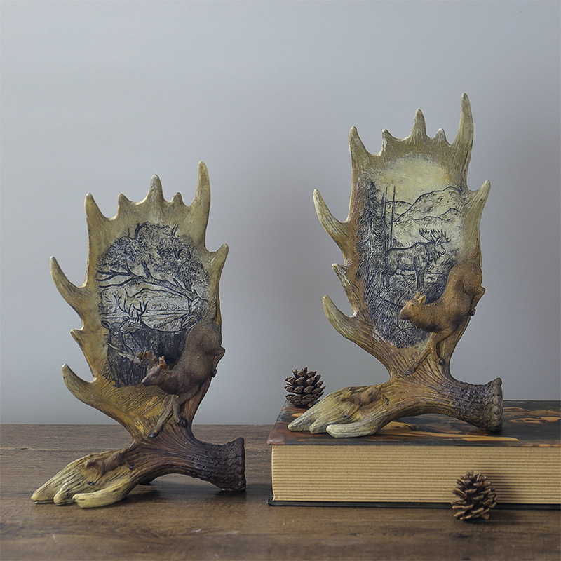 VILEAD 28cm Resin Elk Antler Figurines Creative Retro Animal Ornament Home Decoration Accessories Christmas Decorations for Home in Figurines Miniatures from Home Garden