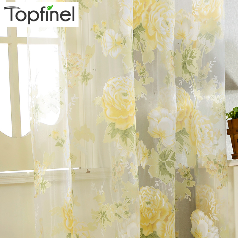 Topfinel Yellow Floral Rose Print Tulle Gardiner för Fönster Elegant Garn för Vardagsrum Bedroom Kitchen Door Curtain Drapes