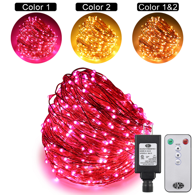 Dual-Color 50M/164 FT 500LEDs Copper Wire String Lights For Xmas/wedding & Party Fairy with 10 Function remote+ UL(US)Adapter