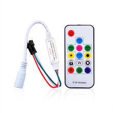 DC5-24V Pixel led Strip Controller with Mini-RF wireless remote for digital RGB strip WS2811/WS2812B/WS2812 to 2048pixels