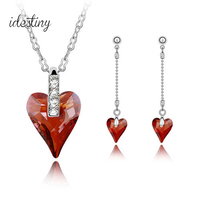 High Quality Red Heart Shaped Silver Wedding Jewellery Sets Silver Bridal Jewelry Set Made With Genuine