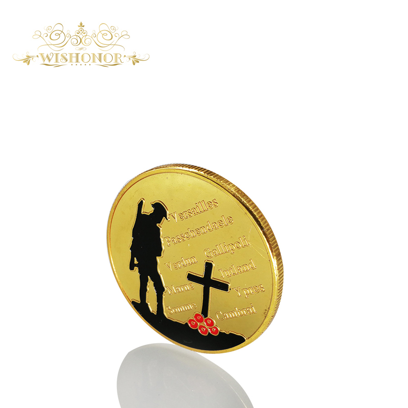 Souvenir War Coin <font><b>1914</b></font> - 1918 The Great War Coin 24K Gold Plated Military Medal 40*3 Challenge Coin For Collection image