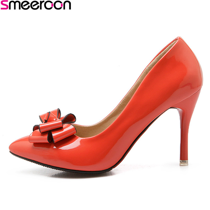 Smeeroon 2018 spring autumn new fashion thin heels pumps slip on shallow pointed toe with butterfly knot sweet ladies shoes
