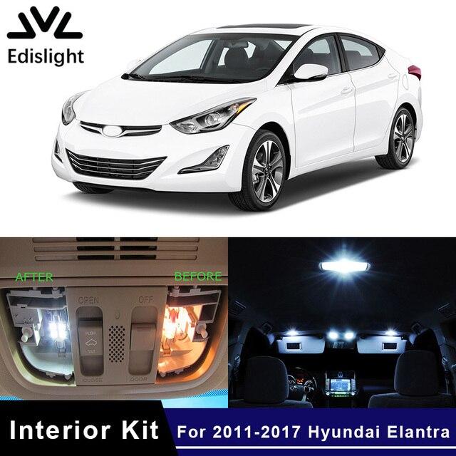Edislight 9Pcs Ice Blue White LED Lamp Car Bulbs Interior Package Kit For 2011-2017 Hyundai Elantra Map Dome Trunk Plate Light