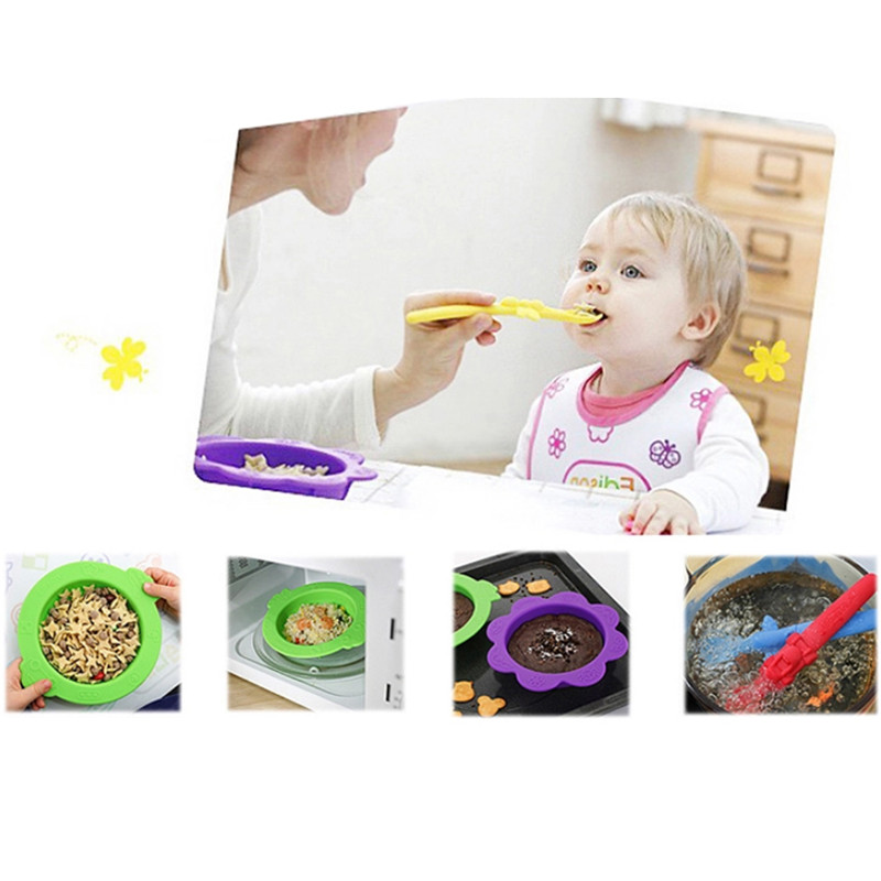 VOGVIGO 2017 Fasion 3Pcs/ Set Baby Drop Bowl Spoon Learning Eat Training Tool