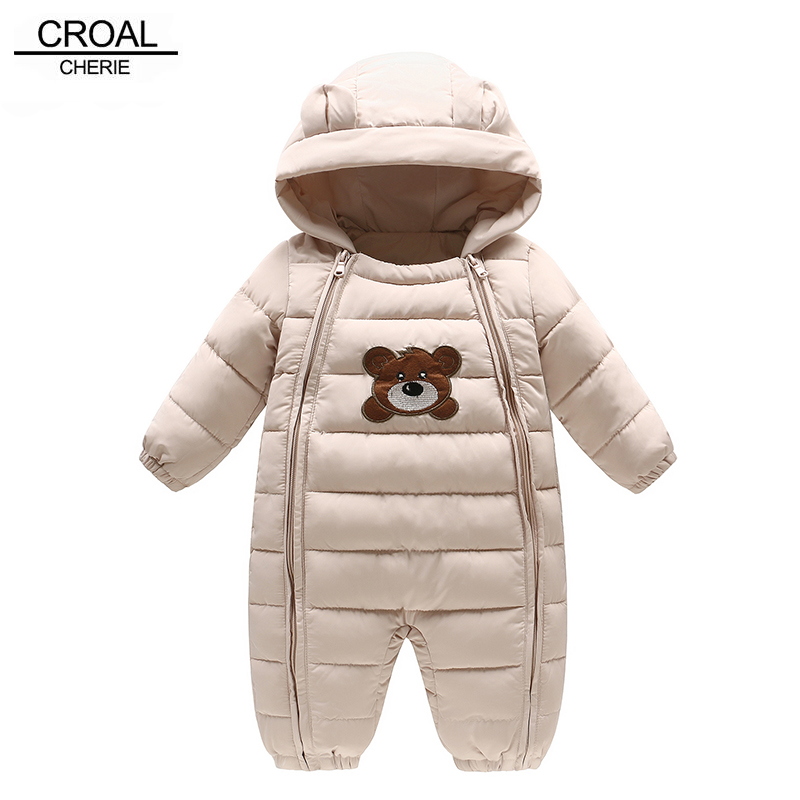 CROAL CHERIE Winter Newborn Clothing Baby Boy Clothes Thickening Baby Girl Romper Cotton Cute Ear Russian Jumpsuit cotton newborn infant baby boy girl clothing romper sleeveless cotton jumpsuit cute animals clothes outfits