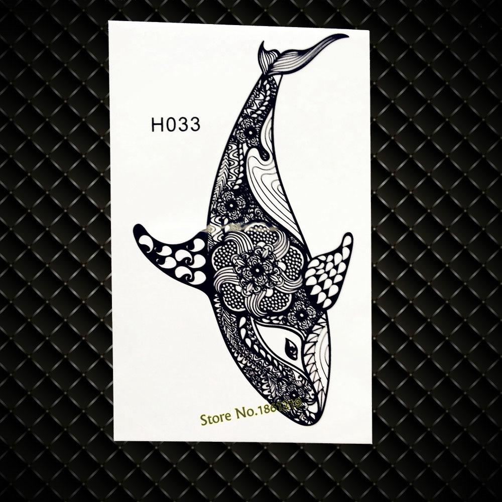 3d Czarny Delfin Wodoodporna Fałszywy Flash Tymczasowy