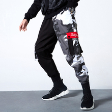 Fashion Streetwear Joggers Pants Men Loose Fit Camouflage Black Spliced Slack Bottom Harem Pants Big Pocket Hip Hop Cargo Pants drawstring spliced camo jogger pants