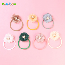 Children Soft Nylon Baby Headbands Lovely Girl Elastic Hairband Chiffon Flower Newborn Hair Accessories