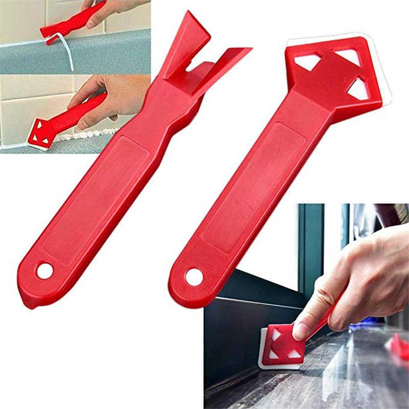 2 ピース/セットシリコーンガラスセメントスクレーパーツールコーキングシーラント仕上げグラウト床クリーニングタイルダートツールスパチュラ接着剤シャベル
