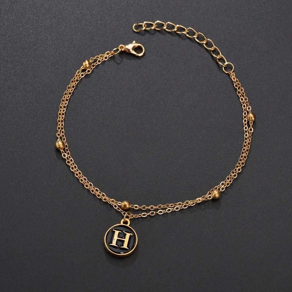 26 手紙ブレスレット女性のチャームレター初期ブレスレットゴールドシルバー金属チェーン手作りクリスマスジュエリー