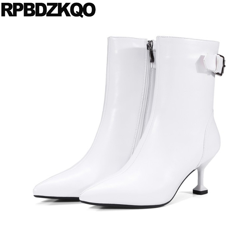 Booties Autumn Pointed Toe Short Stiletto White High Heel Side Zip Boots Metal Genuine Leather Ankle Shoes Strange 2017 Ladies купить дешево онлайн