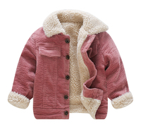 New Winter Lamb Wool Coat for Girls Kids Single Breasted Corduroy Jackets for 1 2 3 4 Years Olds Thicken Fleece Pockets Coats