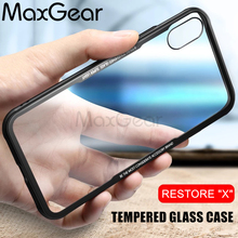 MaxGear Tempered Glass Case For iphone X  Hybrid Hard Glass + Soft TPU Mirror Surface Gloss Glass Back Cover For iPhone X Capa