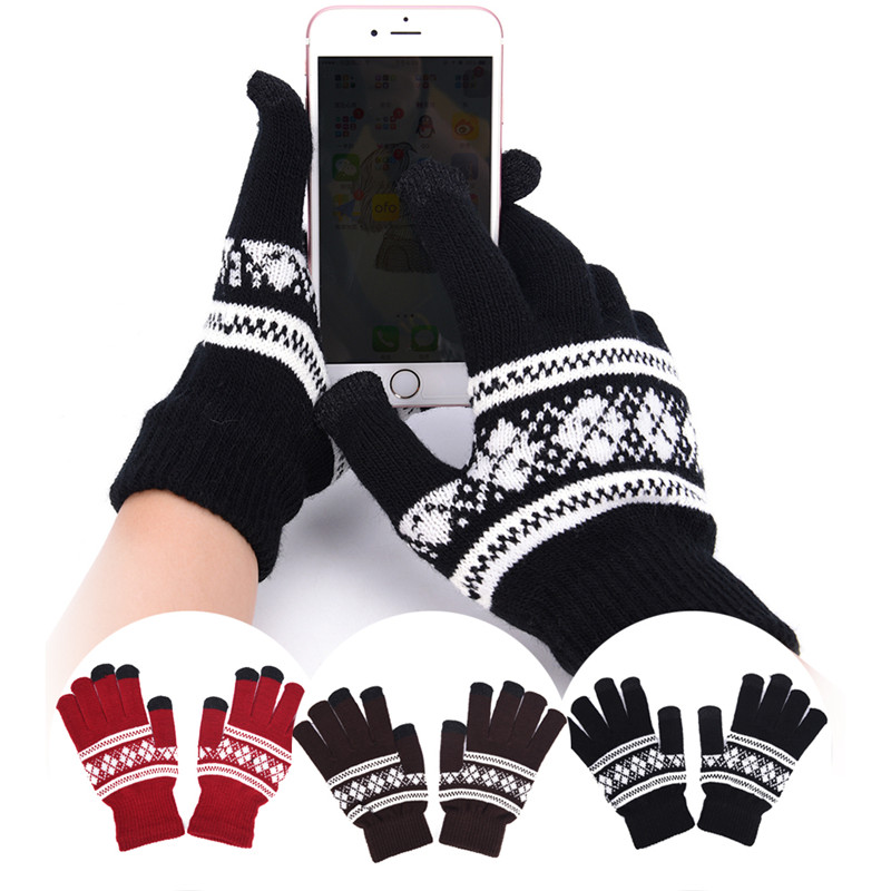 New Woman Touch Screen Gloves Unisex Winter Man Knitted Gloves Snowflake Mittens
