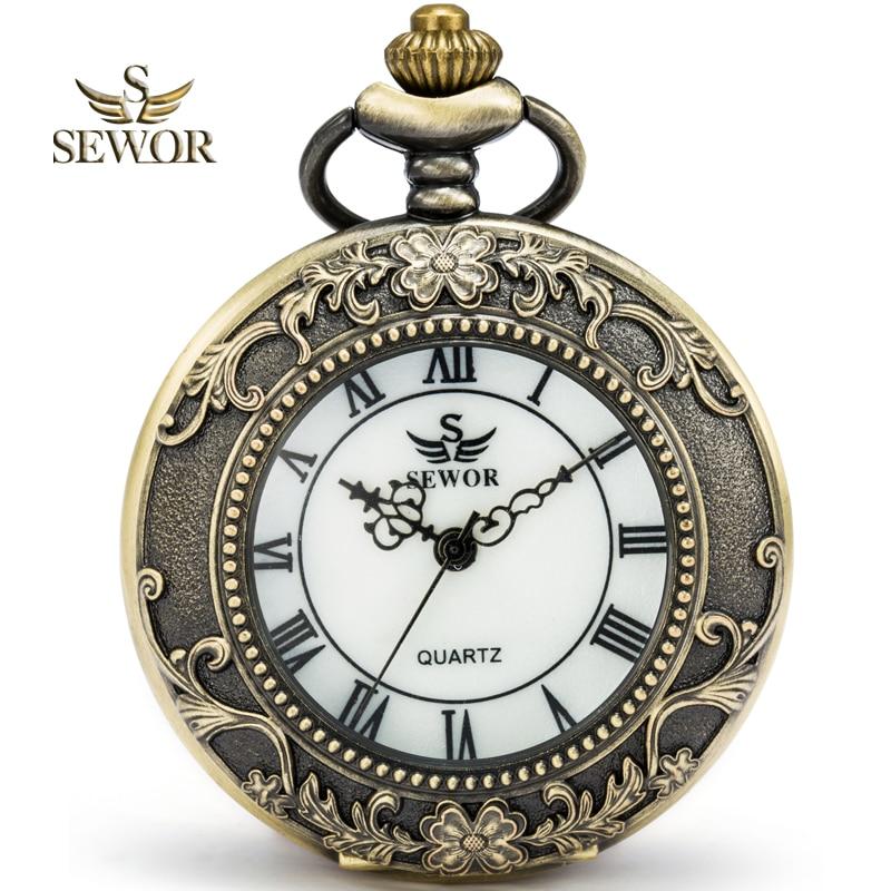 SEWOR 2019 Luxury Brand Fashion Dial Reflective Color Bronze Enamel Quartz Pocket Watch Roman Numbers White Dial C150