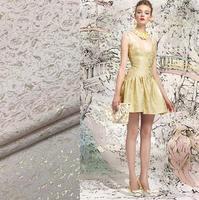 gold color bright golden jacquard brocade dress elegant cloth skirt Coat Fabrics