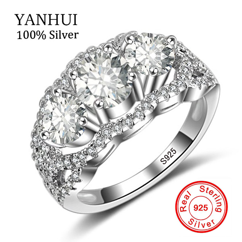 UP 50% OFF!!! YANHUI Fine Jewelry Genuine 925 Sterling Silver Rings For Women 5A Cubic Zirconia Promise Engagement Rings LYR019