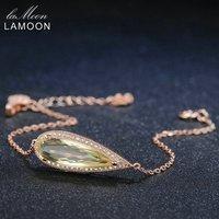 LAMOON Naturalne Oryginalna Cytryn Teardrop Bransoletka 925 Sterling Silver Kobiety 2017 Nowe Mody Biżuterii Kamień Bransoletka
