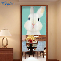 New Canvas Door Curtain Japanese Style Noren Kawaii Rabbit Pattern Door Curtains Japan Hanging Portiere For