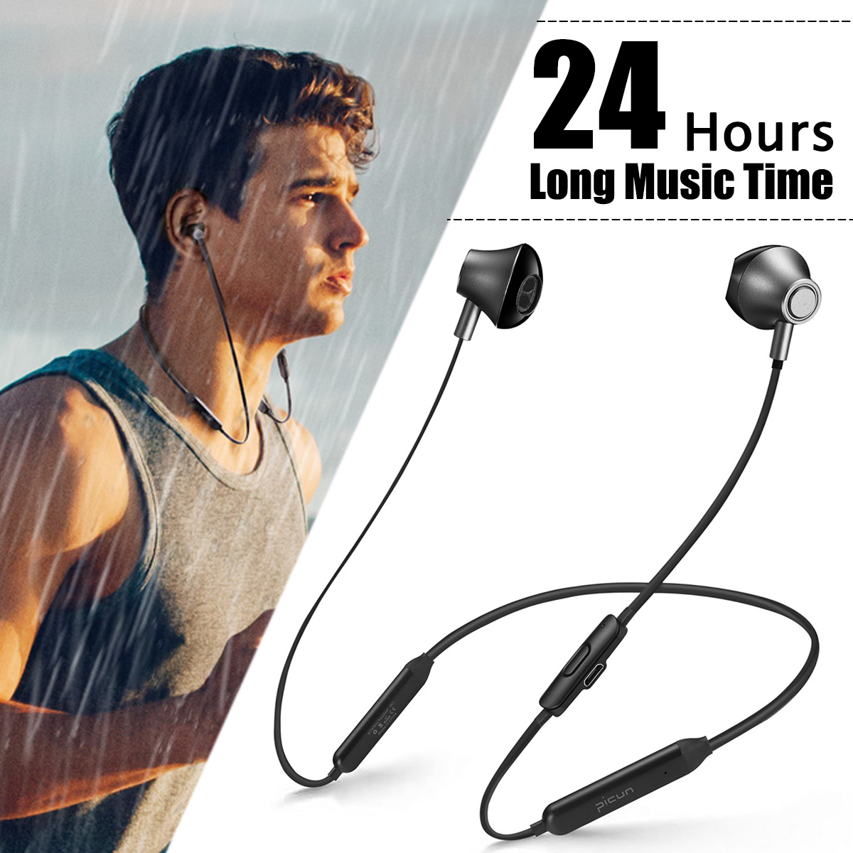 Magnetic Stereo Neckband bluetooth Earphones Sports Wireless Earbuds Headphones Headset CVC DSP Waterproof 24H Music Time
