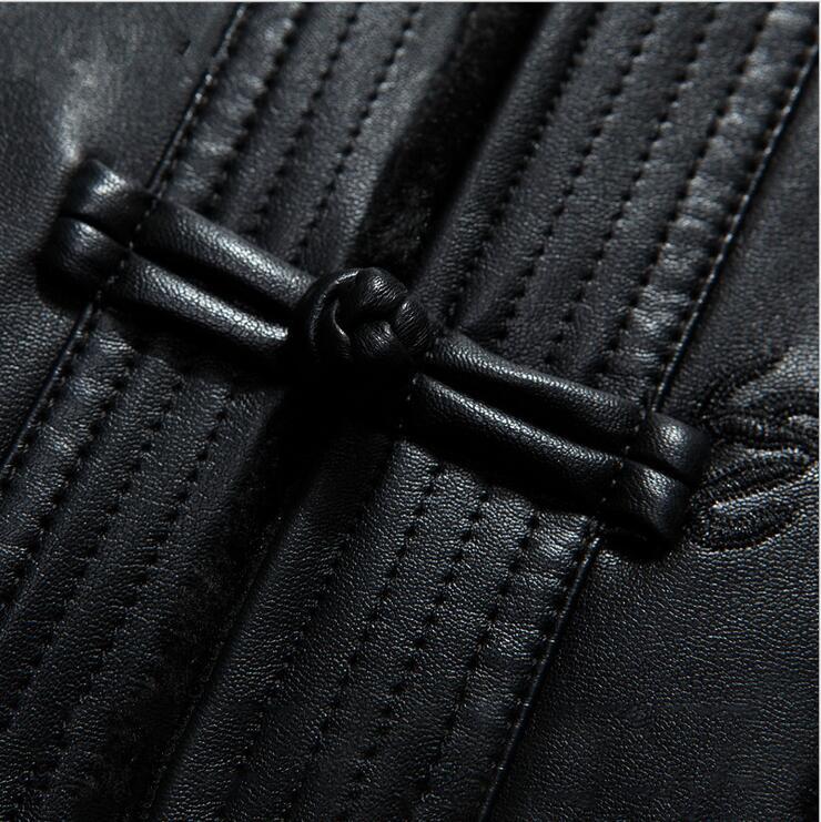 Men 39 s Genuine Leather Winter Jacket Sheep Leather warm Men Coat Chinese style men 39 s leather coat EMS Free shipping in Genuine Leather Coats from Men 39 s Clothing